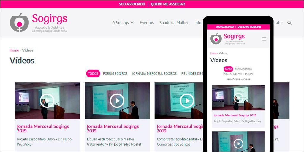 Área de Vídeos no site