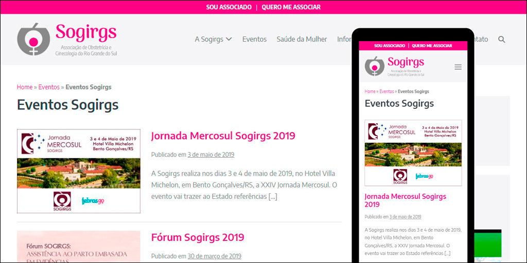 Área de Eventos no site